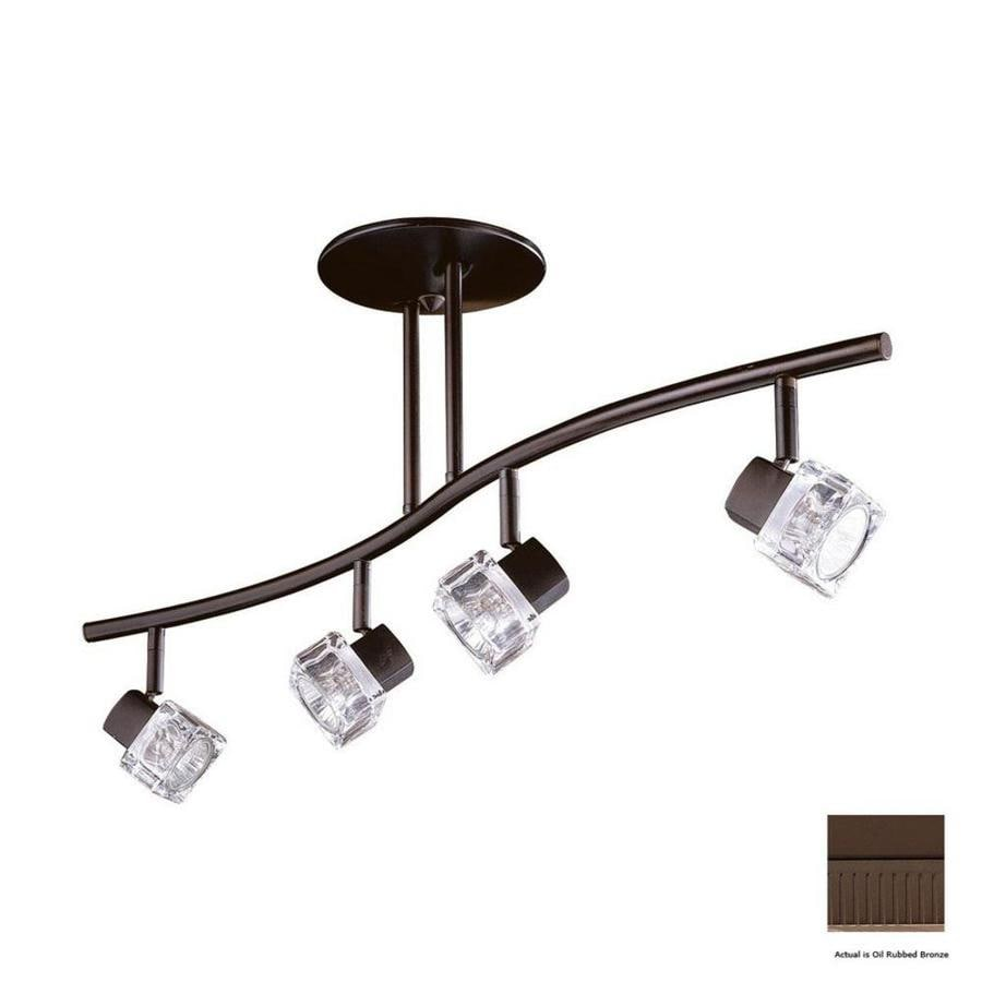 Kendal Lighting 4-Light 32.5-in Oil-Rubbed Bronze Glass Pendant Linear Track Lighting Kit