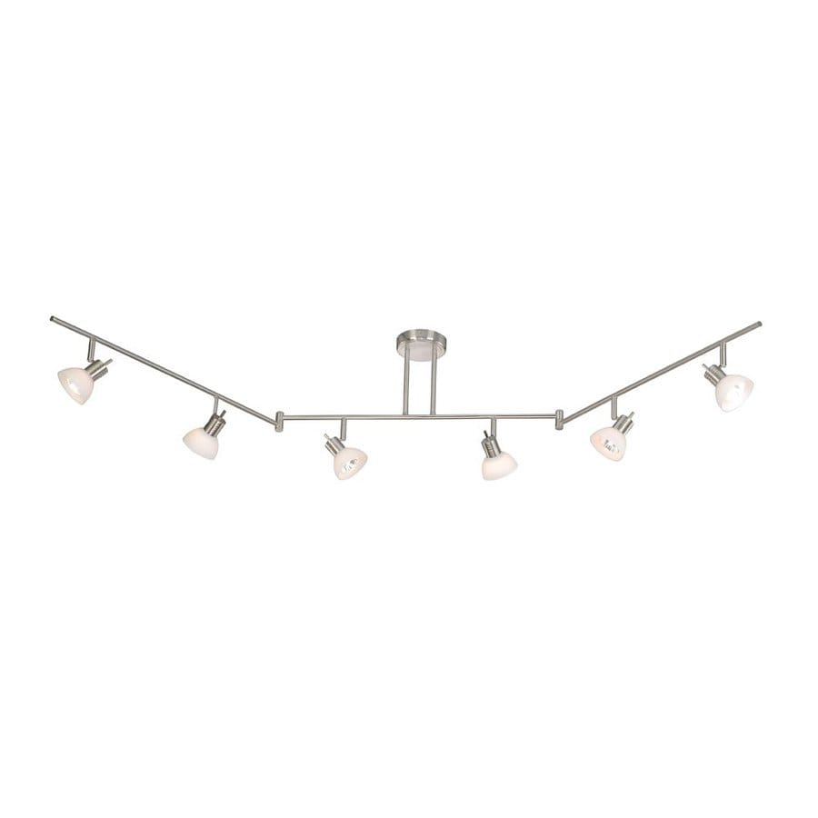 Cascadia Lighting Como 6 Light 72 In Satin Nickel Flexible Track Light With  Frosted