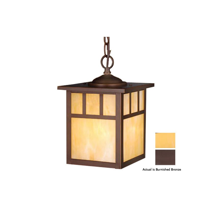 Cascadia Lighting Mission 11-in Burnished Bronze Outdoor Pendant Light