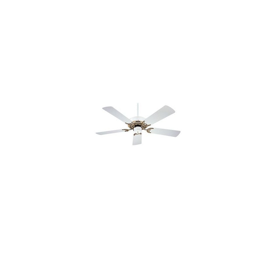 Nicor Lighting 42-in Masterbuilder White/Polished Brass Ceiling Fan