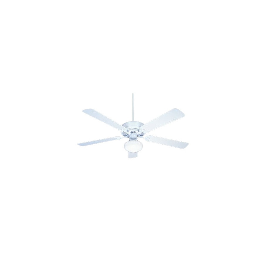 Nicor Lighting 52-in Contractor White Ceiling Fan with Light Kit
