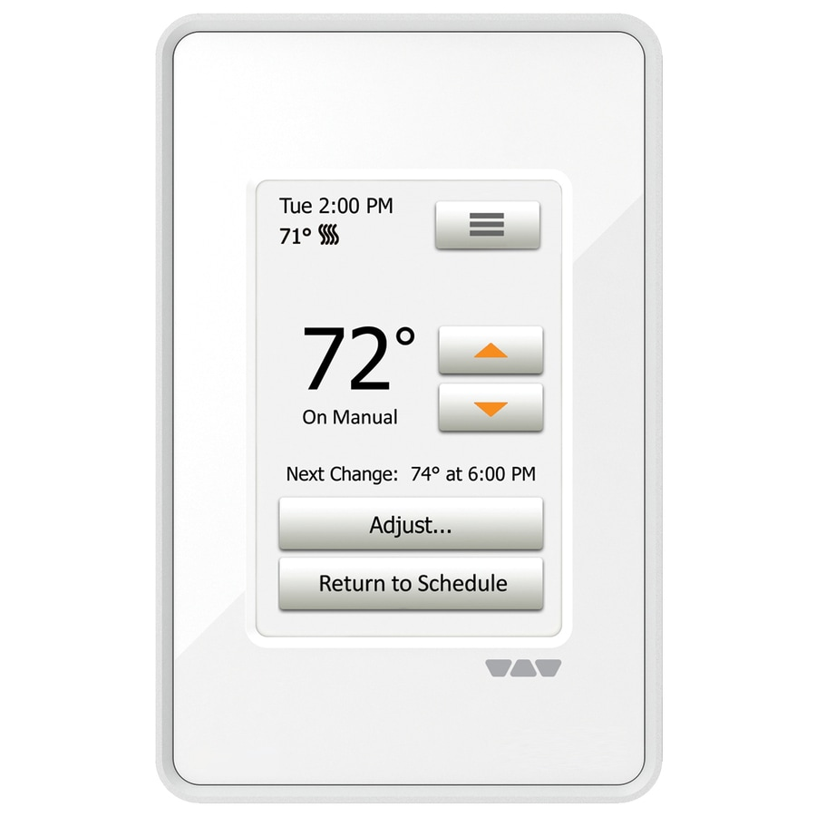 Schluter Systems 3.5-in x 6-in White Dual-Voltage Digital Programmable Thermostat