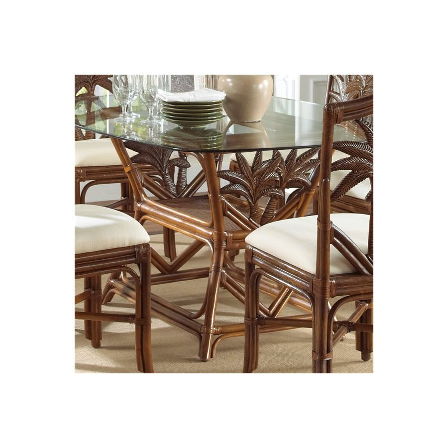 Hospitality Rattan Cancun Palm TC Antique Rectangular Dining Table