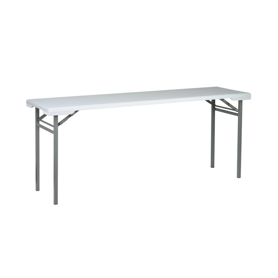 Office Star 70.5-in x 19.5-in Rectangle Steel Grey Nebula Folding Table