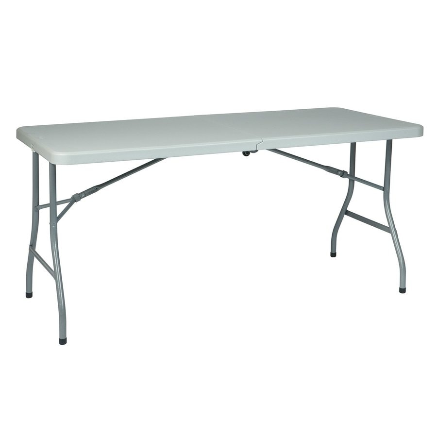 Office Star 61-in x 30-in Rectangle Steel Grey Folding Table