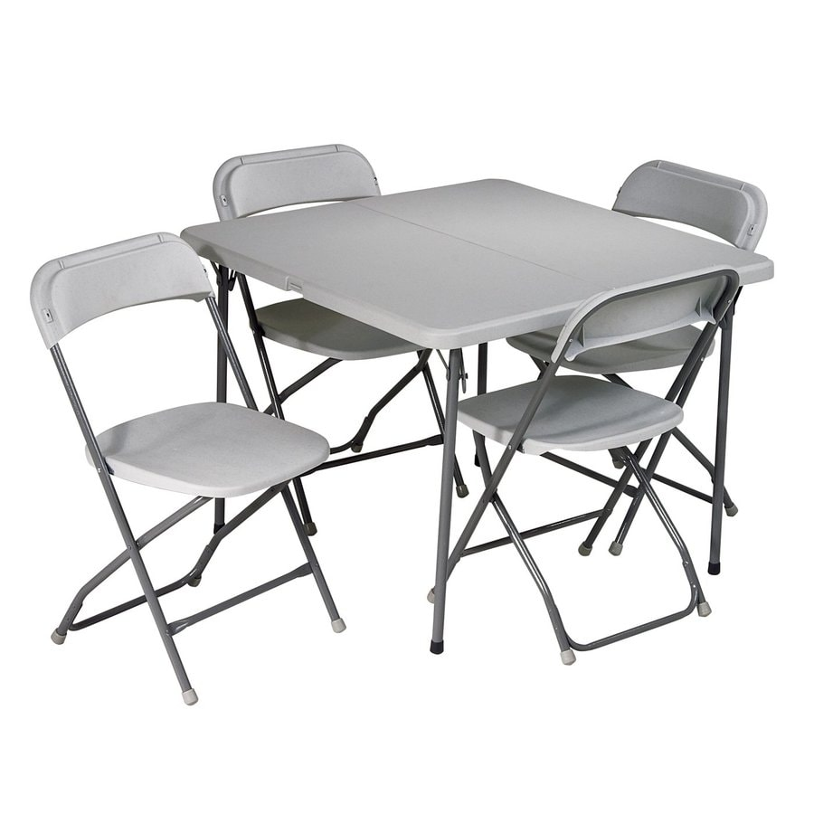 Office Star Set of 5 36-in x 17.75-in Square Steel White Folding Tables