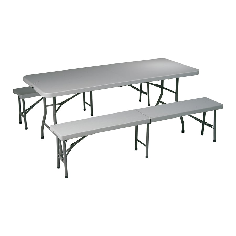 Office Star Set of 3 72.5-in x 30-in Rectangle Steel Grey Folding Tables