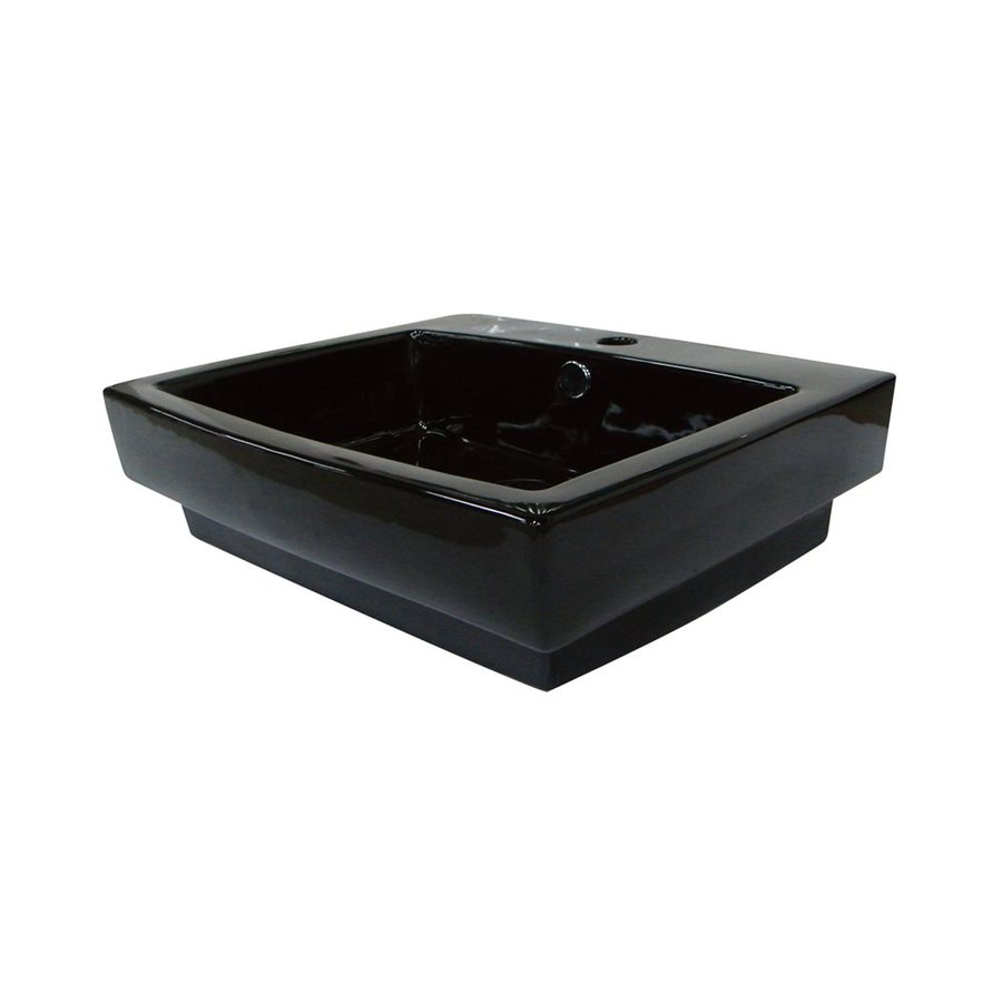 Elements of Design Plaza Black Vessel Rectangular Bathroom Sink with Overflow