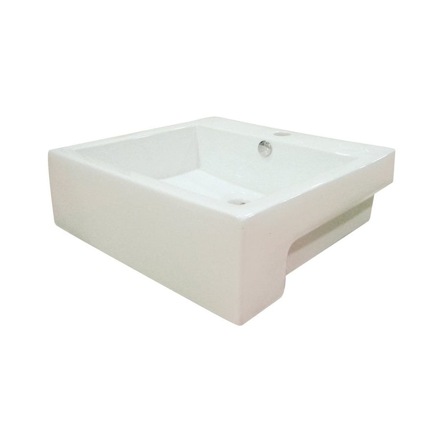 Elements of Design Concord White Vessel Rectangular Bathroom Sink with Overflow