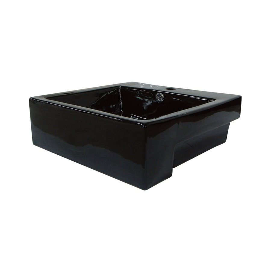 Shop Elements Of Design Concord Black Vessel Rectangular Bathroom Sink With Overflow At