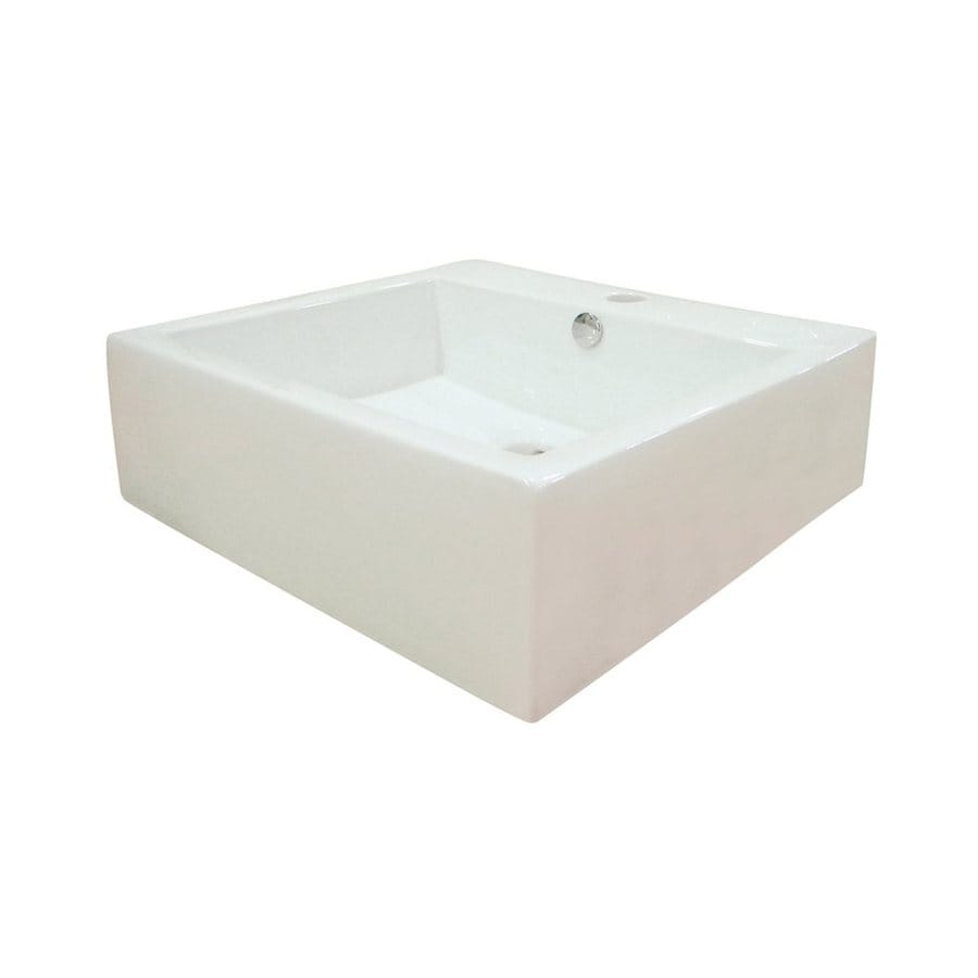 Elements of Design Commodore White Vessel Square Bathroom Sink with Overflow