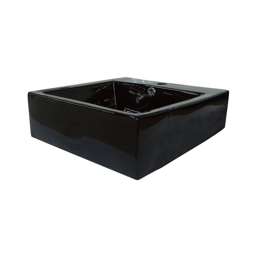 Shop Elements Of Design Commodore Black Vessel Semi Circle Bathroom Sink With Overflow At