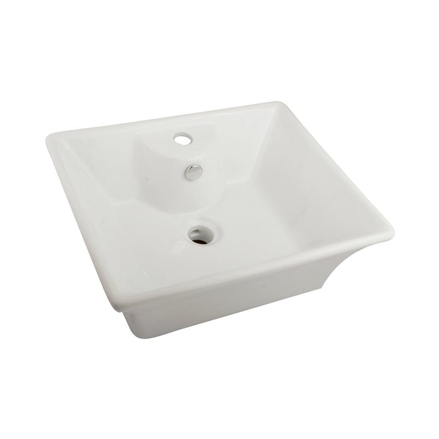 Shop Elements Of Design Forte White Vessel Rectangular Bathroom Sink With Overflow At