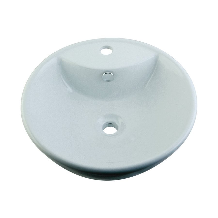 Elements of Design Simplicity White Vessel Round Bathroom Sink with Overflow
