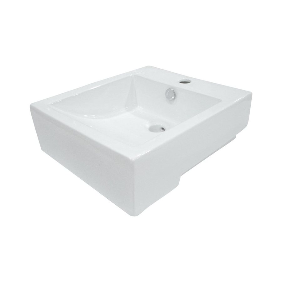 Shop Elements Of Design Citadel White Vessel Rectangular Bathroom Sink With Overflow At