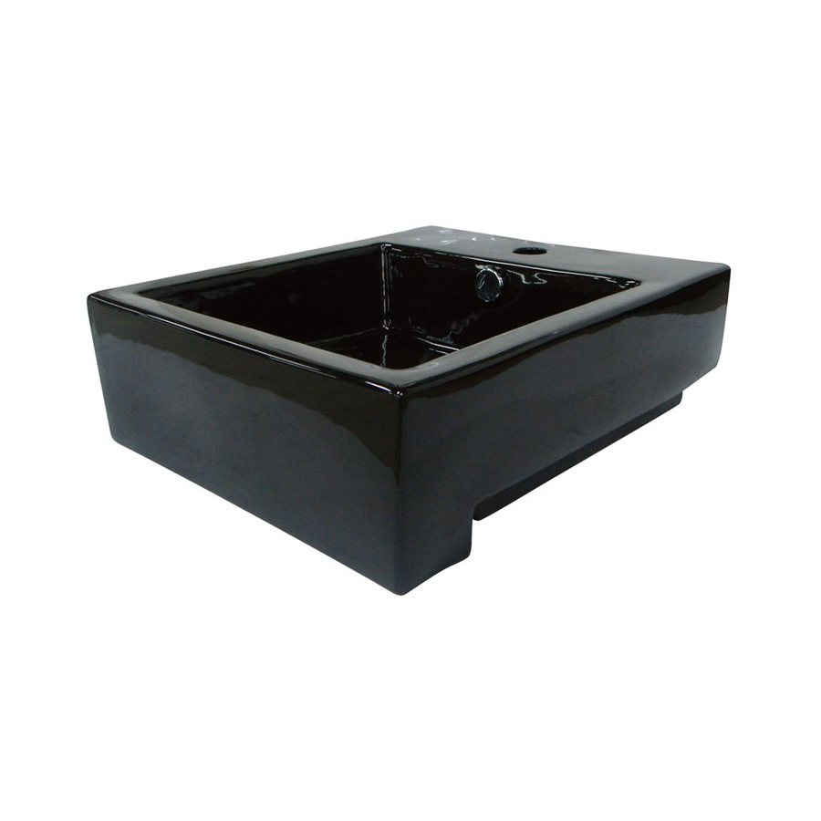 Shop Elements Of Design Citadel Black Vessel Rectangular Bathroom Sink With Overflow At