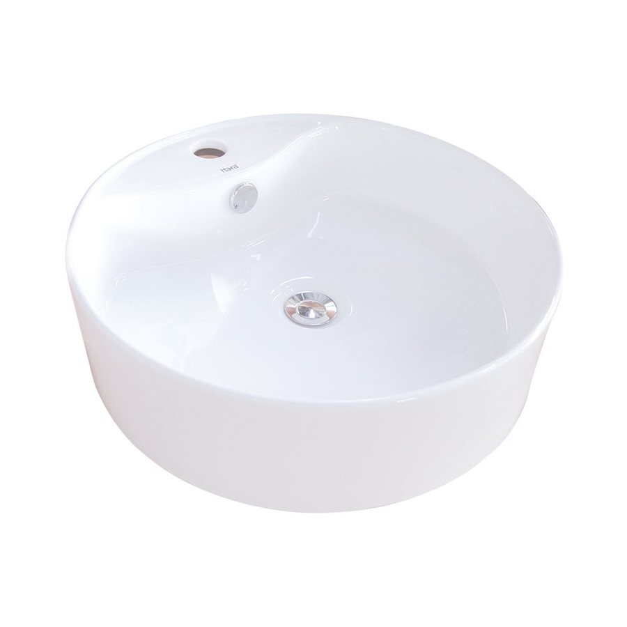 Elements of Design Uno White Vessel Round Bathroom Sink with Overflow