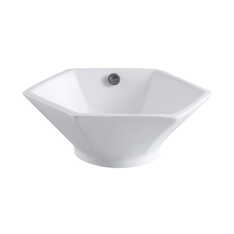 Shop Elements Of Design Metropolitan White Vessel Hexagonal Bathroom Sink With Overflow At