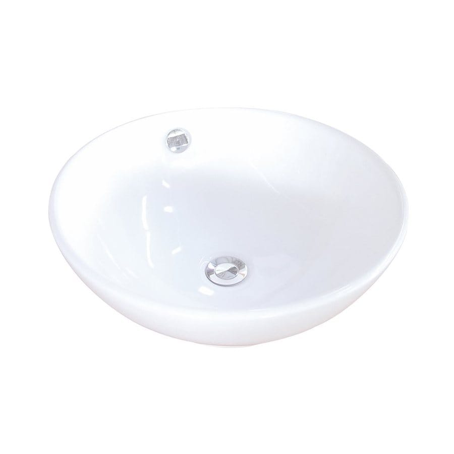 Elements of Design Perfection White Vessel Round Bathroom Sink with Overflow