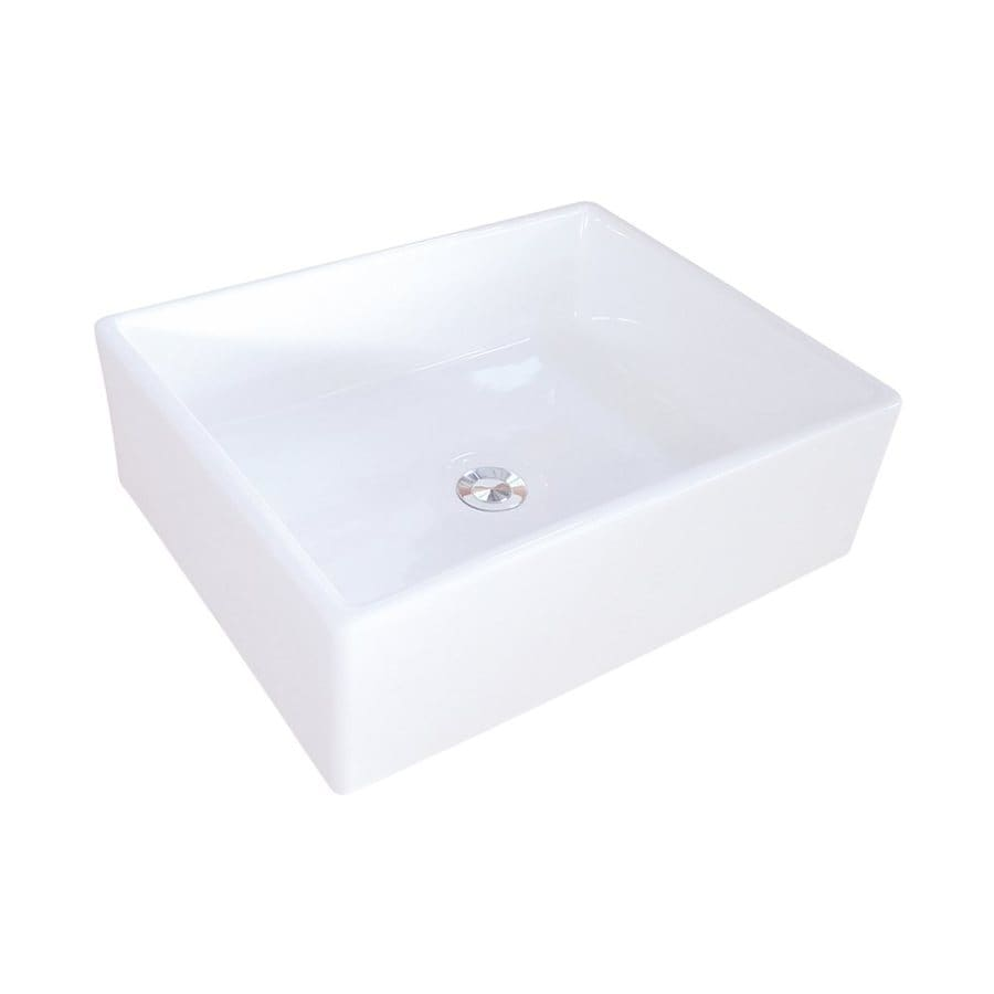 Shop Elements Of Design Elements White Vessel Square Bathroom Sink At