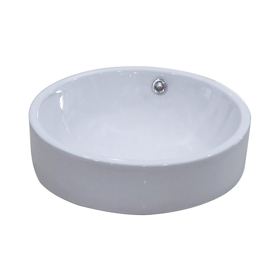 Shop Elements Of Design Zen White Vessel Round Bathroom Sink With Overflow At