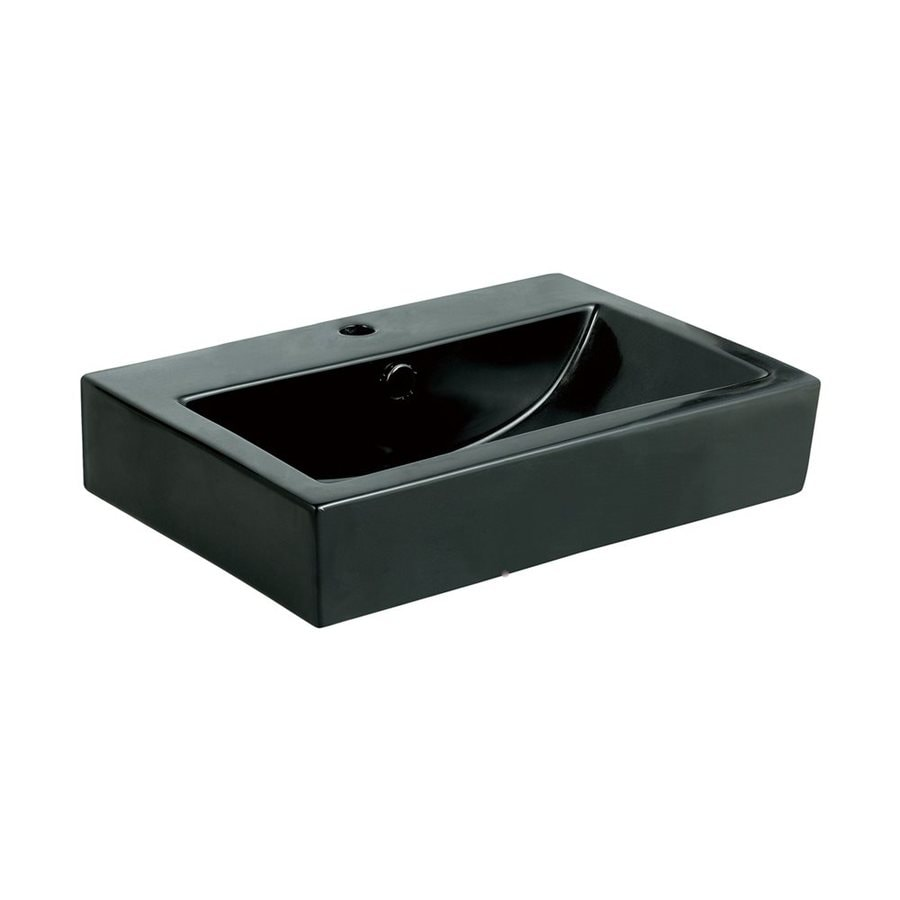 Elements of Design Clearwater Black Vessel Rectangular Bathroom Sink with Overflow