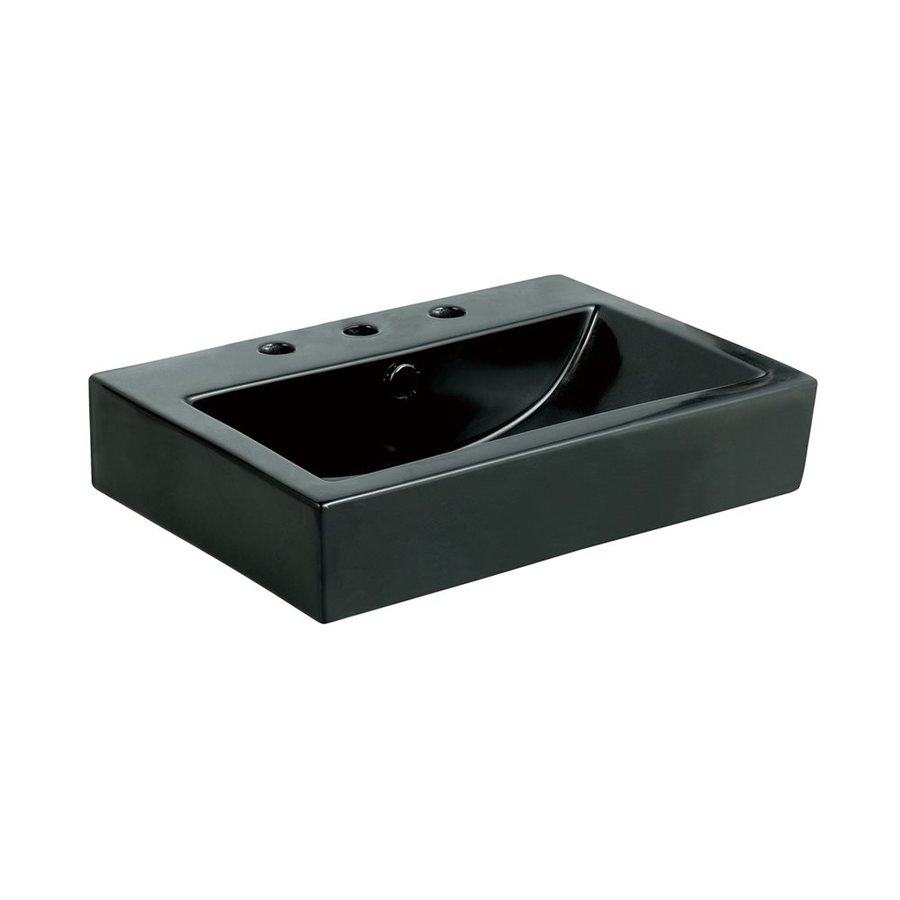 Shop Elements Of Design Clearwater Black Vessel Rectangular Bathroom Sink With Overflow At