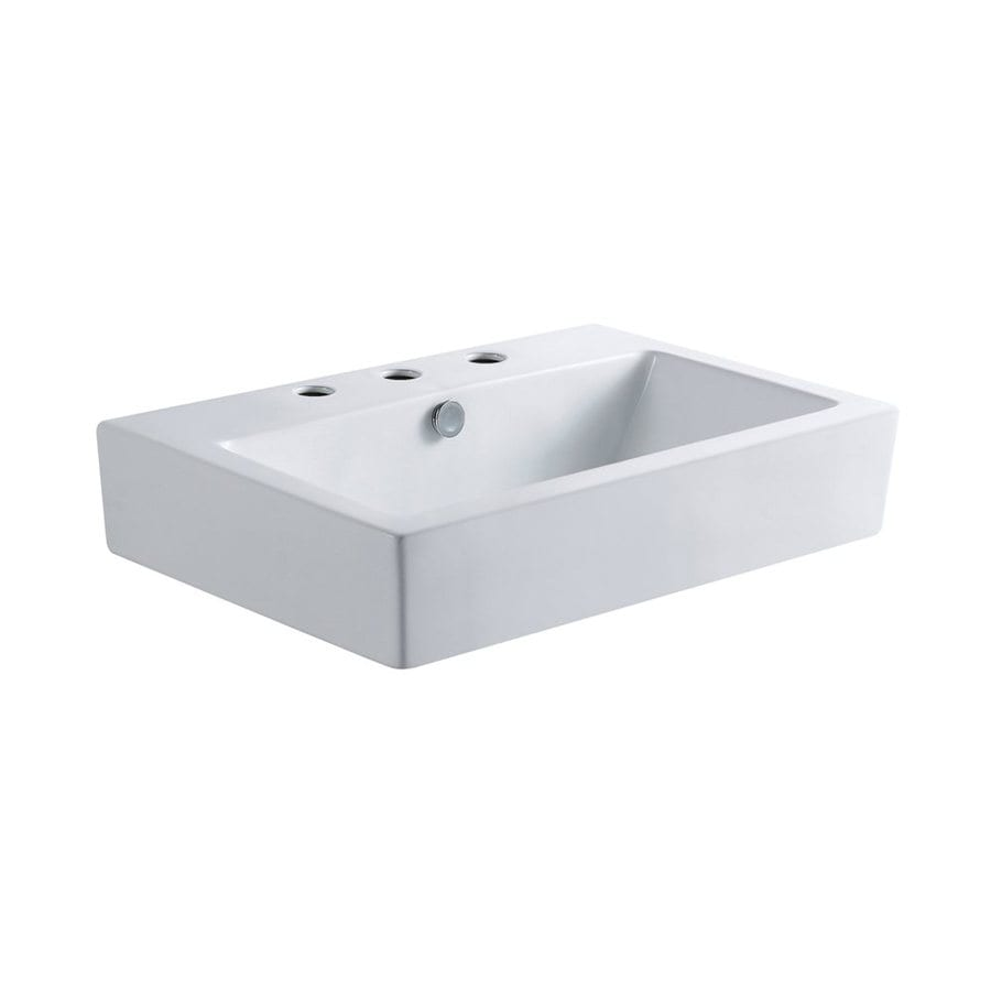 Elements of Design Clearwater White Vessel Rectangular Bathroom Sink with Overflow