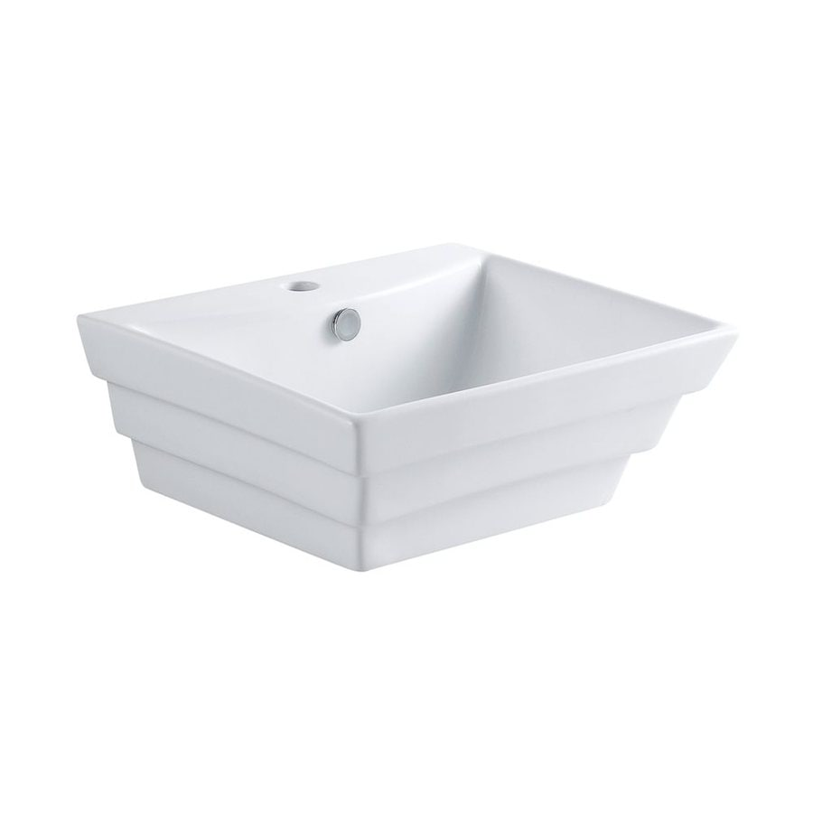Elements of Design Tahoe White Vessel Square Bathroom Sink with Overflow