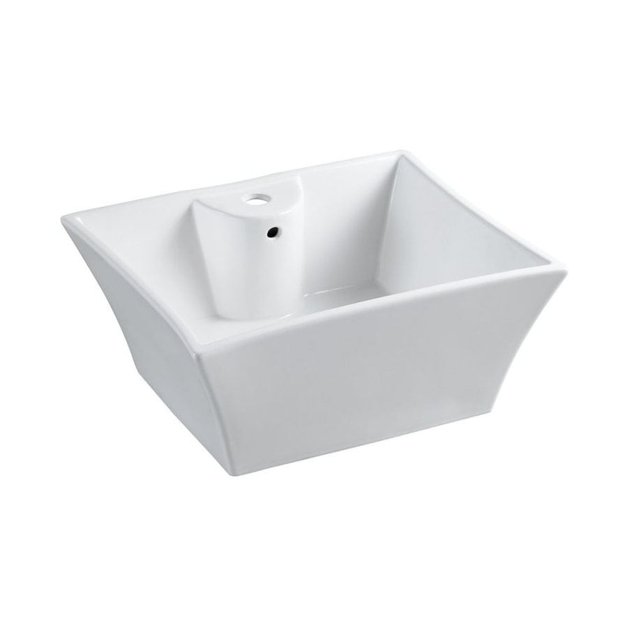 Elements of Design Forte Prime White Vessel Square Bathroom Sink with Overflow