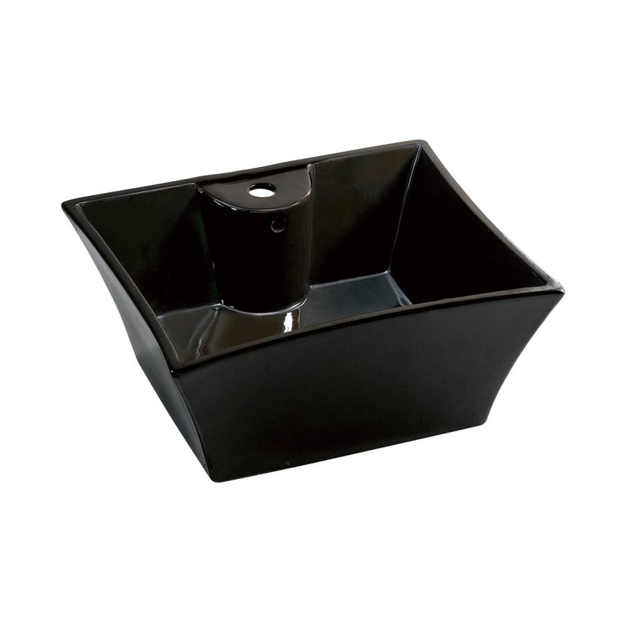 Shop Elements Of Design Forte Prime Black Vessel Square Bathroom Sink With Overflow At