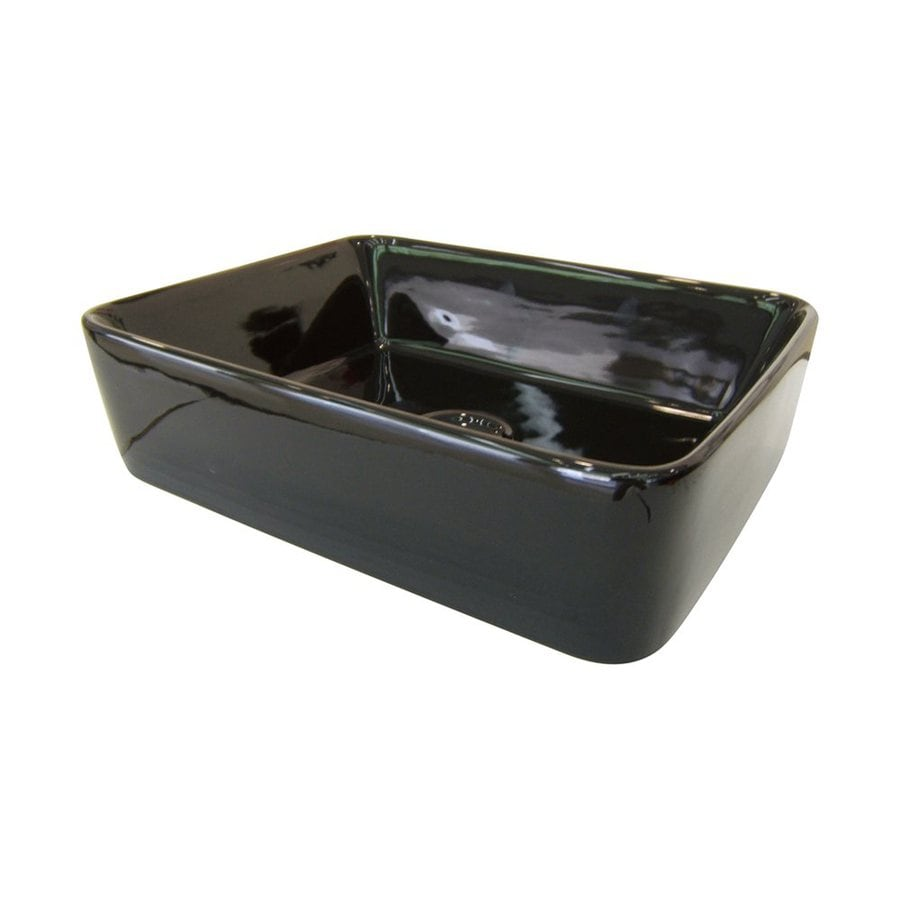 Shop Elements Of Design French Black Vessel Square Bathroom Sink At