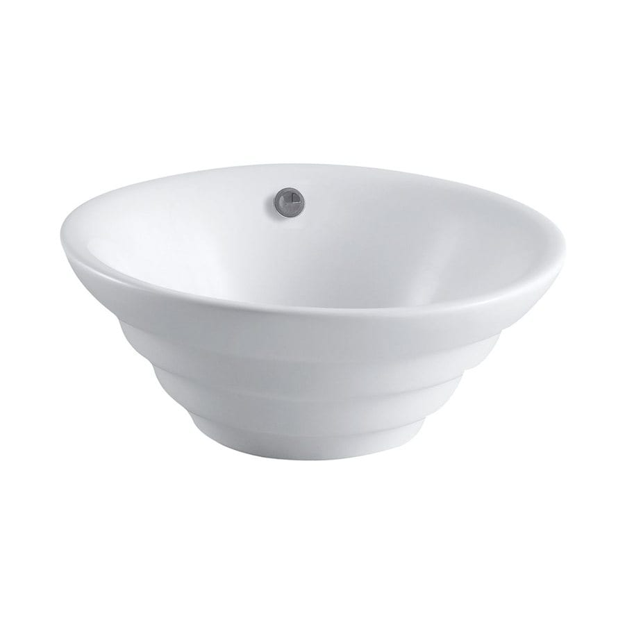 Elements of Design Allegro White Vessel Round Bathroom Sink with Overflow