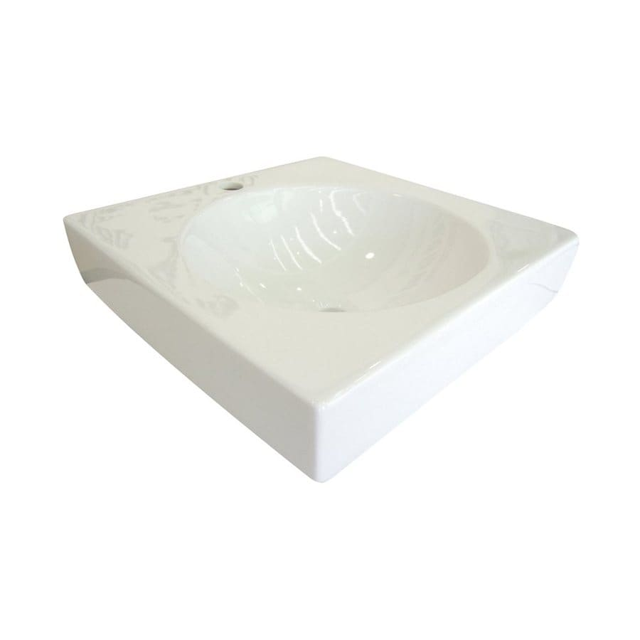 Elements of Design Beverly Hills White Vessel Square Bathroom Sink