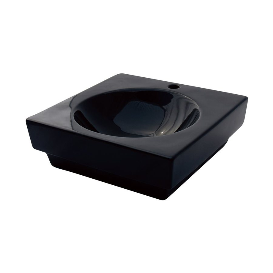 Shop Elements Of Design Beverly Hills Black Vessel Square Bathroom Sink At