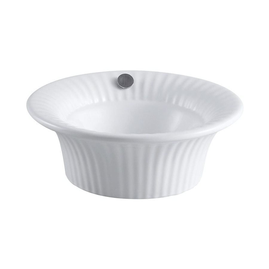 Elements of Design Laurel White Vessel Round Bathroom Sink with Overflow
