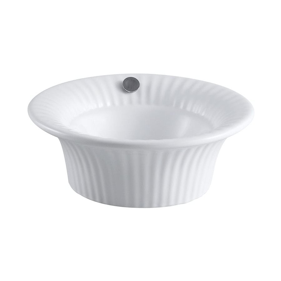 Shop Elements Of Design Laurel White Vessel Round Bathroom Sink With Overflow At
