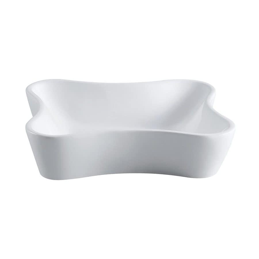 Elements of Design Nuevo White  Irregular Vessel Bathroom Sink