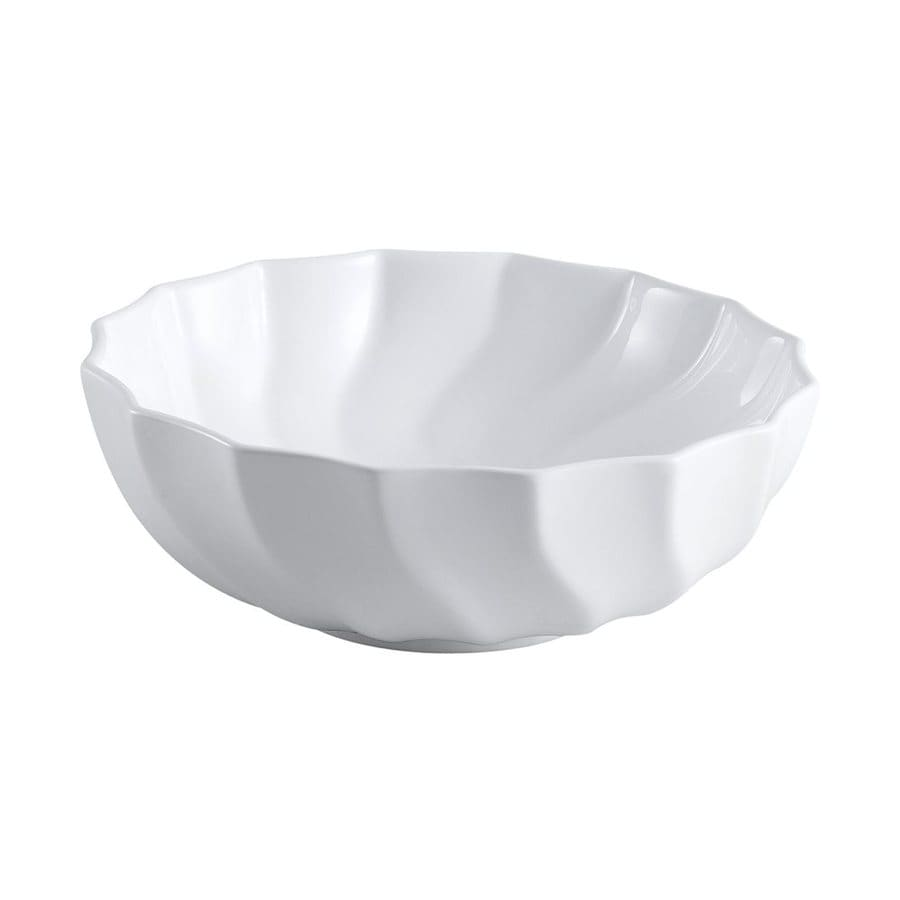 Shop Elements Of Design Odyssey White Vessel Scalloped Bathroom Sink At