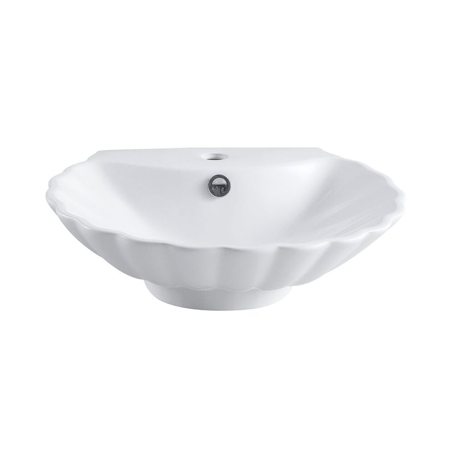 Elements of Design Oceana White Vessel Scalloped Bathroom Sink with Overflow