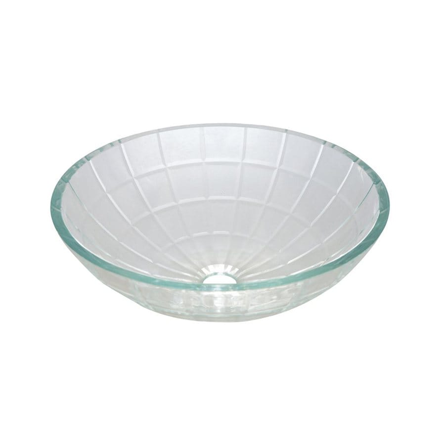 Shop Elements Of Design Meridian Light Crystal Clear Glass Vessel Round Bathroom Sink At