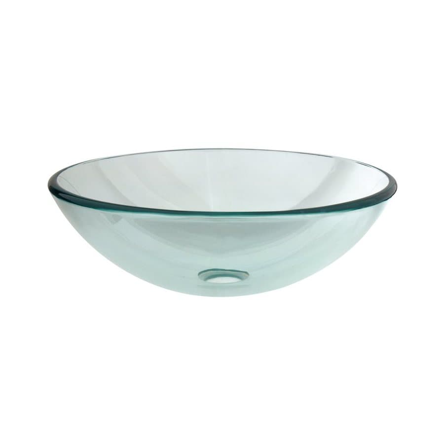 Shop Elements Of Design Fauceture Crystal Clear Glass Vessel Round Bathroom Sink At
