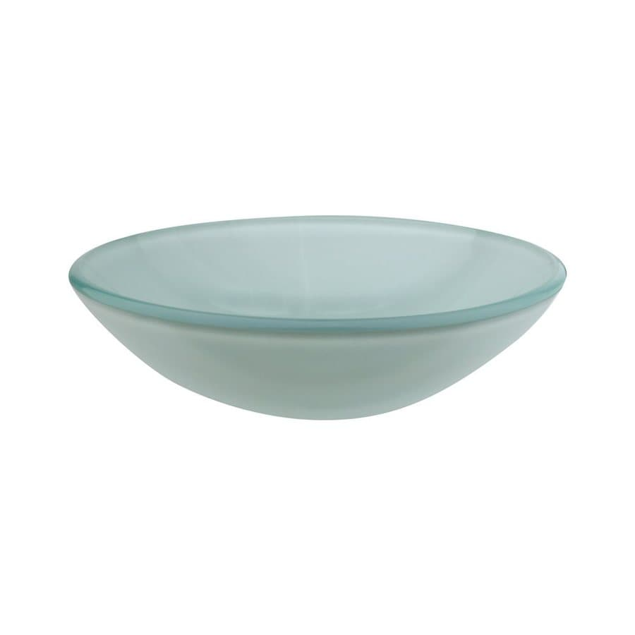 Shop Elements Of Design Fauceture Light Green Frost Glass Vessel Round Bathroom Sink At