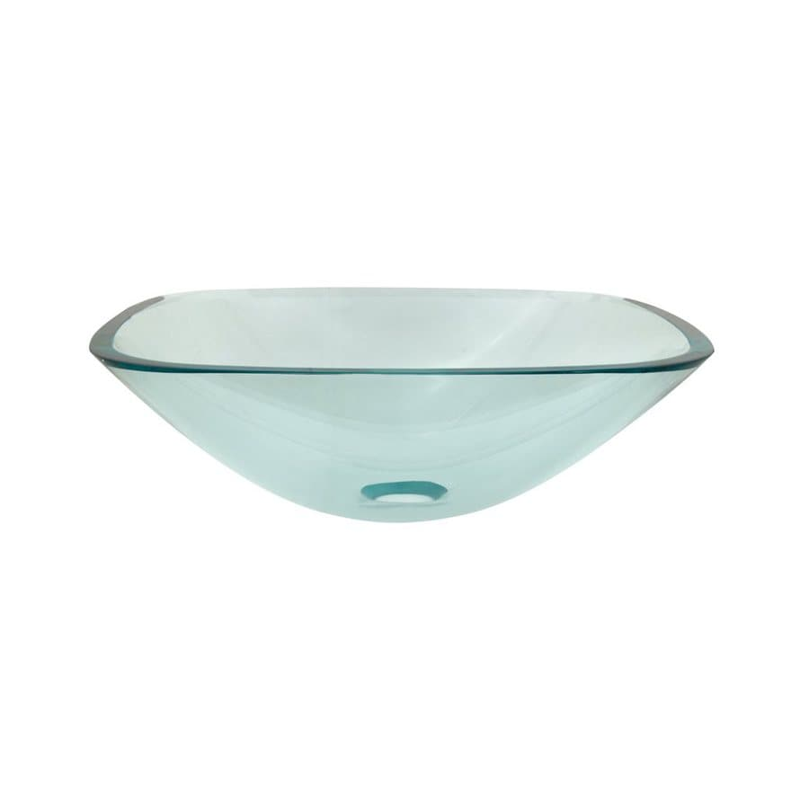 Elements of Design Fauceture Clear Glass Vessel Square Bathroom Sink