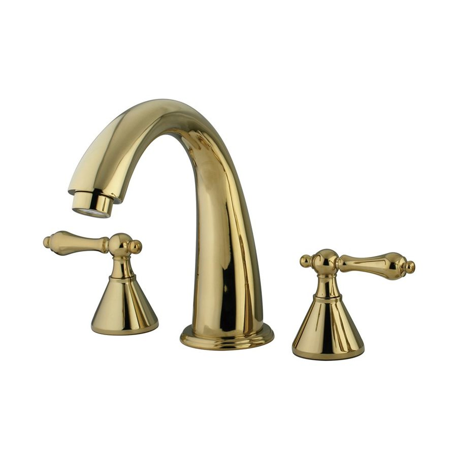 Elements of Design Polished Brass 2-Handle Adjustable Deck Mount Bathtub Faucet