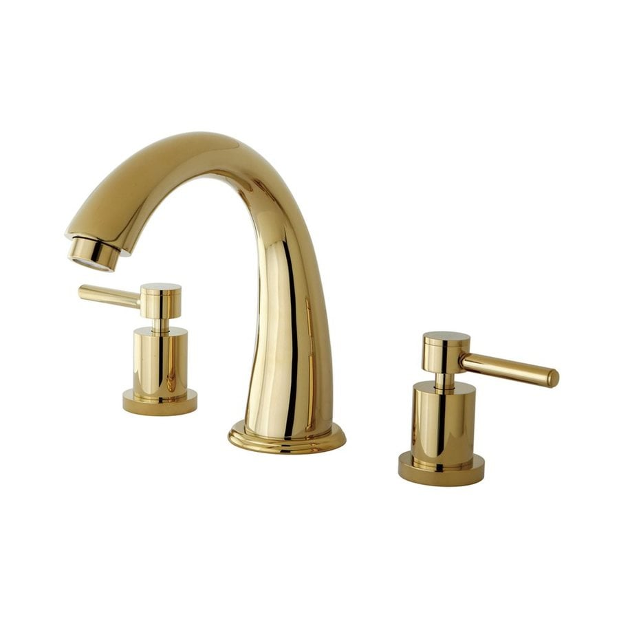 Elements of Design NuVo Polished Brass 2-Handle Adjustable Deck Mount Bathtub Faucet