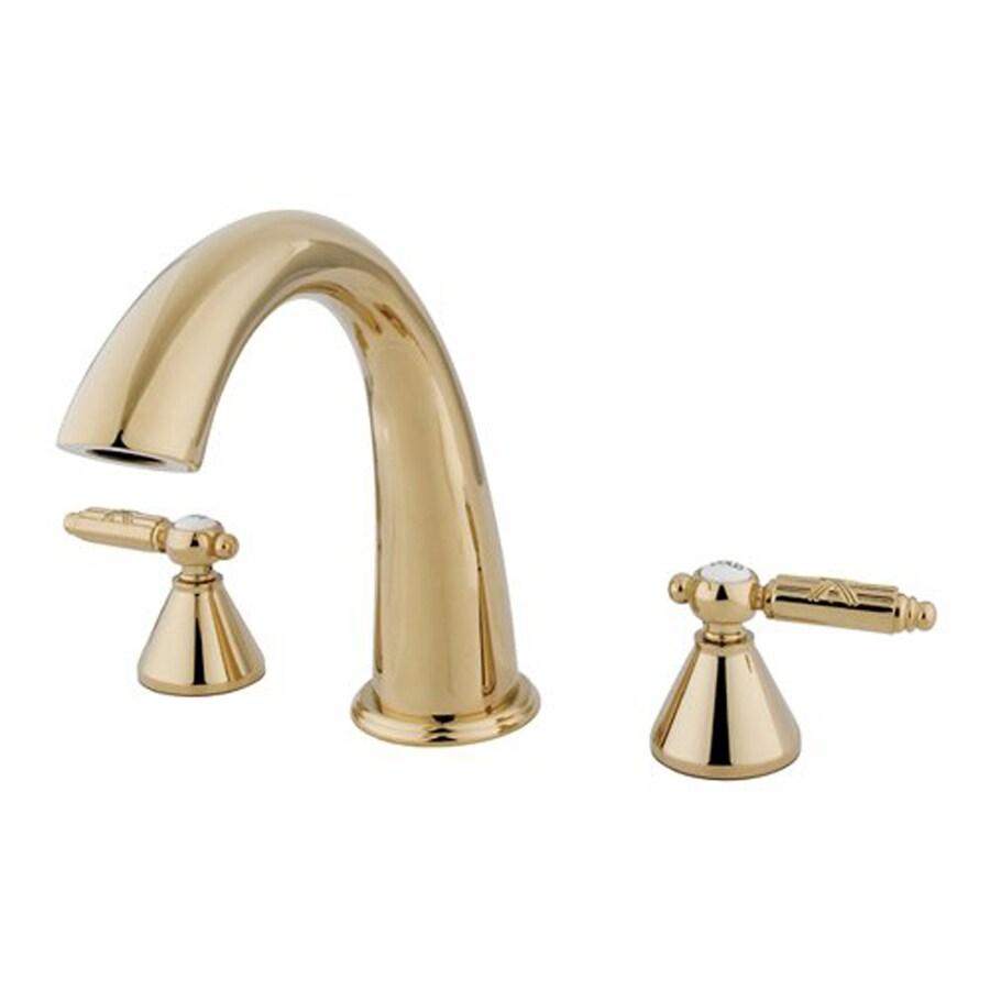 Elements of Design Polished Brass 2-Handle Adjustable Deck Mount Bathtub Faucet