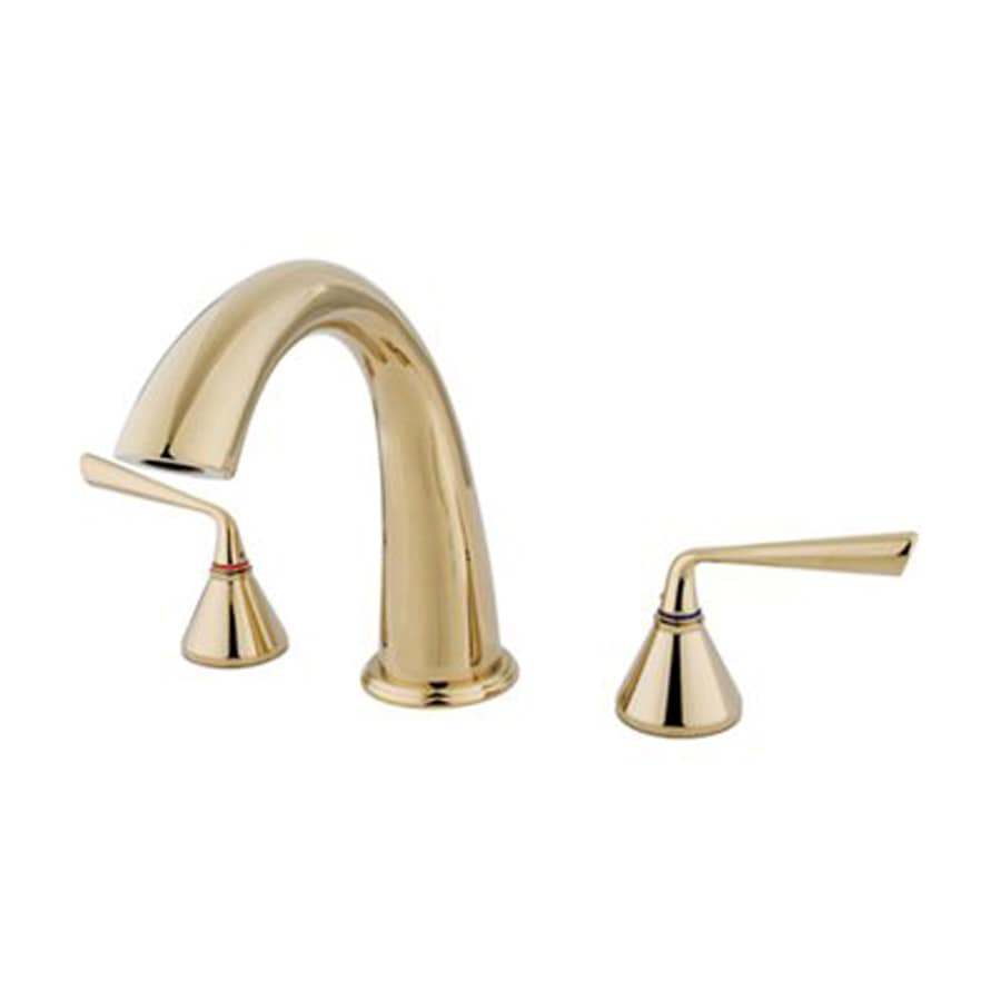 Elements of Design Silver Sage Polished Brass 2-Handle Adjustable Deck Mount Bathtub Faucet