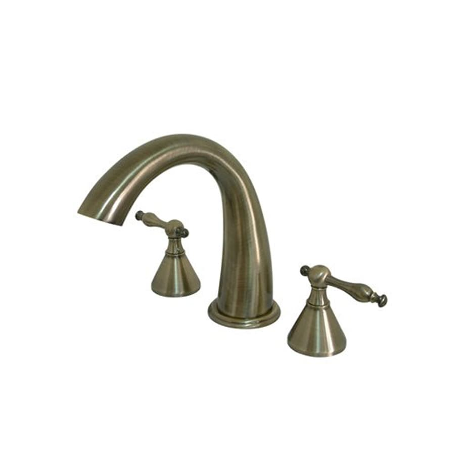 Elements of Design Vintage Brass 2-Handle Adjustable Deck Mount Bathtub Faucet