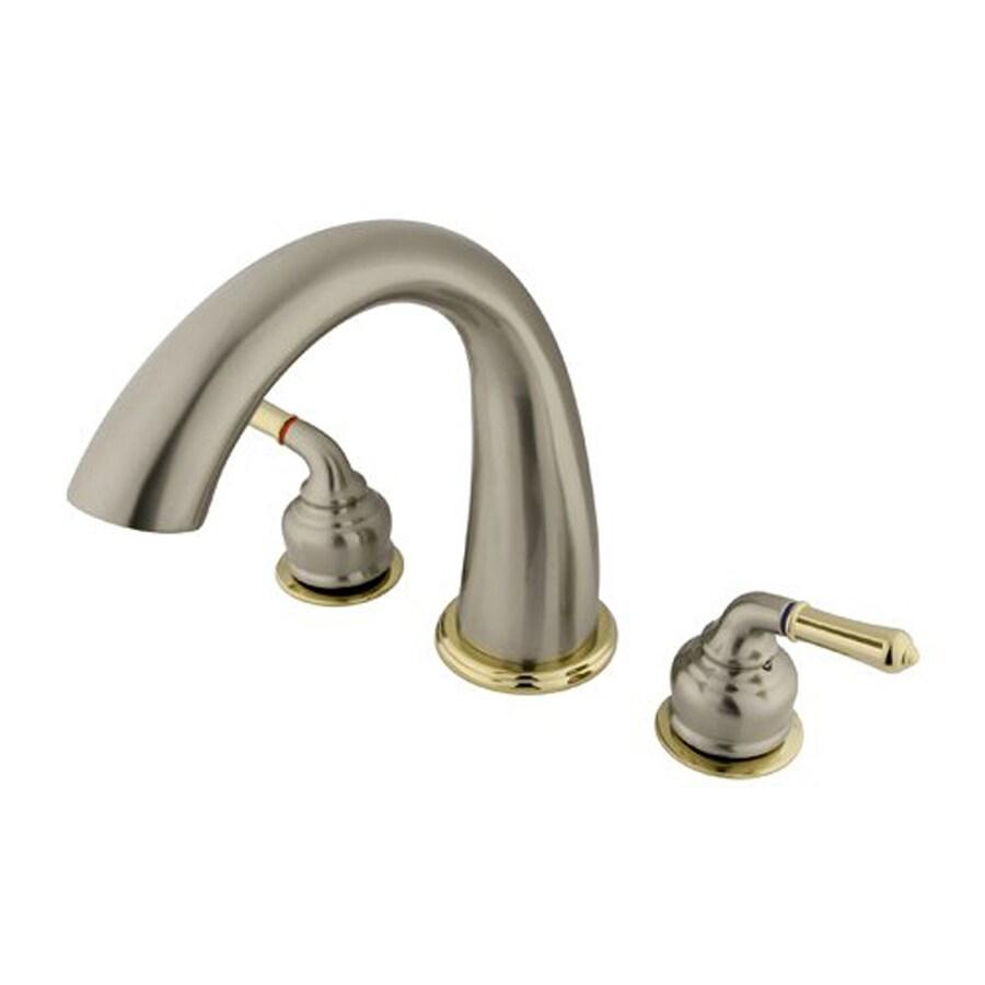 Elements of Design Satin Nickel/Polished Brass 2-Handle Adjustable Deck Mount Bathtub Faucet